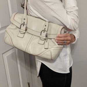 Coach leather buckle shoulder bag